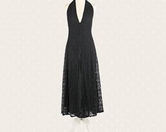 1970s Vintage black lace dress