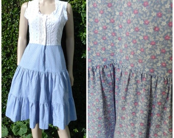 Vintage 70's tiered gypsy calico florals white and lilac lacy  midi sun dress u.k.6 – 8 SM