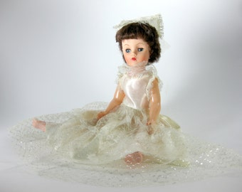 """19"""" Brown Hair Doll from the 1960's ~ Marked P-10 on her Neck ~ Bride or Confirmation Like Clothing ~ Possible Skippy Doll Corp"""