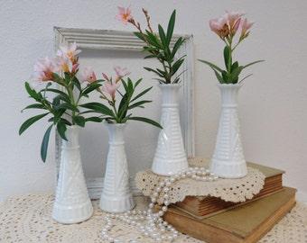 Set Milk Glass Vases - Wedding Decor - Collection Milk Glass Bud Vases