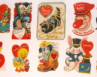 Lot of 10 Vintage Children's Valentine Cards, 1950's to 1960's