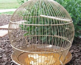Vintage Ivory Colored Antique Birdcage, Spherical Shape, Rustic