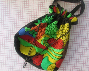 Vintage 70s Beaded Fruit  Drawstring Tote / Hobo Bag