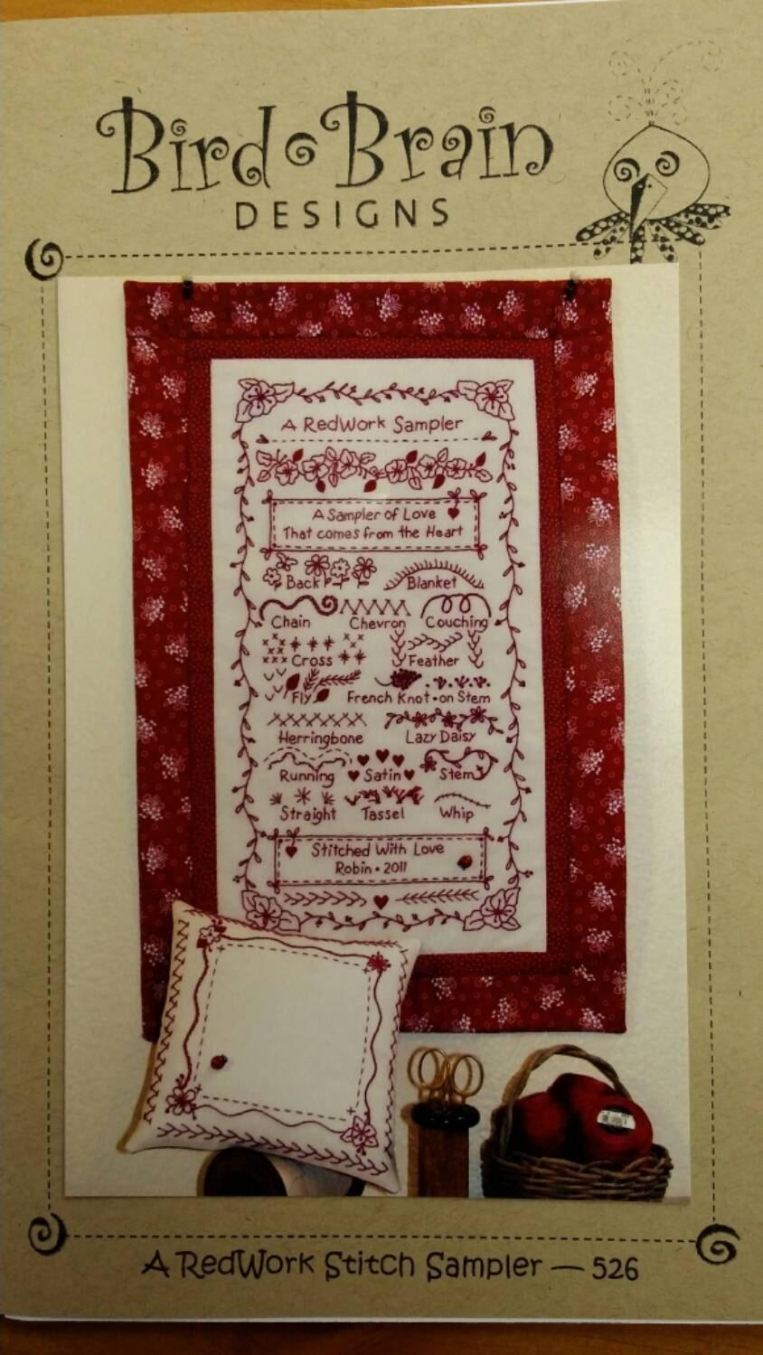 Redwork stitch sampler hand embroidery pattern bird brain