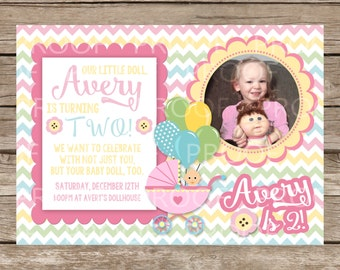 Custom Mommy and Me Baby Doll Birthday Invitation