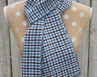 Scarf, Handwoven Houndstooth Scarf in Blue, Brown and White