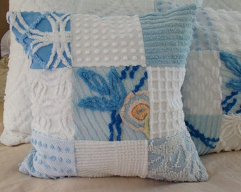 "REDUCED PRICE-Blue And White Patchwork Pillow Cover for 18"" Pillow Insert Was 35.00 Now 30.00"