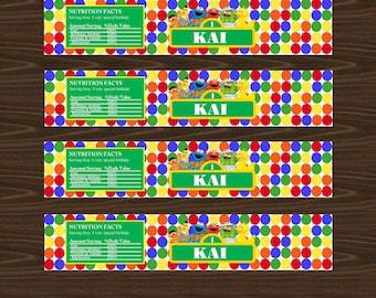 Sesame street water bottle labels (digital file)