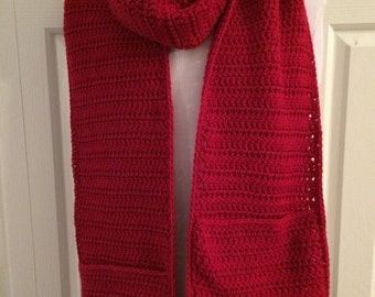 Oversized crocheted pocket scarf- Cherry