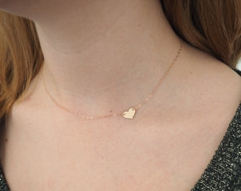 Rose Gold Heart Necklace, Sideways Heart Necklace, Gift For Her
