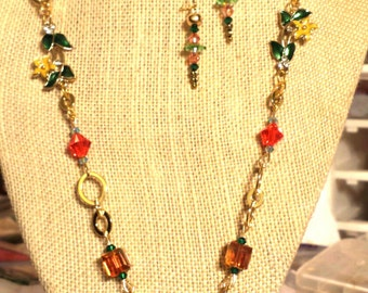 Colorful Swarovski Crystal and Gold Finished Brass Necklace with Flower Links, Hand Painted Floral Heart Pendant Earrings 24 Inch Necklace