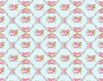 Rosealea Flowers on cotton lycra jersey knit fabric - UK seller