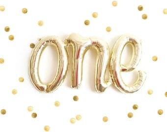 Gold Script One Balloon, Gold One Balloon, 1st Birthday Balloon, Photo Prop, Cake Smash Balloon, First Birthday Decor, Birthday Party Decor