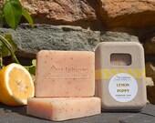 Lemon Poppy Soap - Citrus Soap - Lemon Soap - Handmade Soap - Exfoliant Soap - Cold Process Soap - Yellow - Gift Soap -