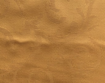 "Vintage Cotton Damask Decorator Drapery Fabric // 68x54"" > gold, golden > unused"