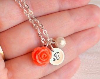 Coral bridesmaid necklace with rose Coral orange Personalized bridesmaid gift with initial Coral Flower girl jewelry, Bridesmaid jewelry
