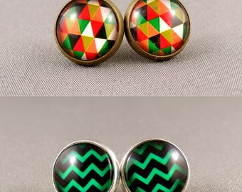 Twin Pack Super Saver: Stud Earrings - Autumn Triangles and Chevron