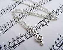 Treble clef necklace - music note charm - silver - singer musician jewellery