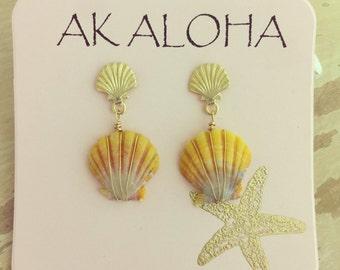 Sunrise Shell Earrings, Hawaii Sunrise Earrings, Hawaii Shell Earrings, Gold Shell Stud Earrings