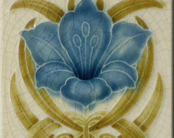 Art Nouveau decorative Ceramic tile 6 X 6 Inches 186