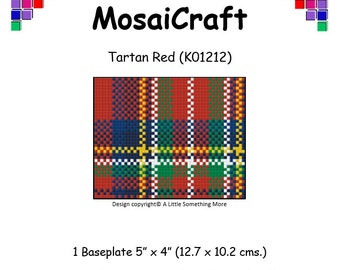 MosaiCraft Pixel Craft Mosaic Art Kit 'Tartan Red' (Like Mini Mosaic and Paint by Numbers)