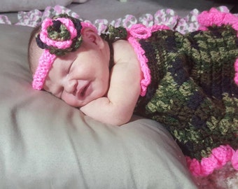 Crochet 4 piece set, camo and pink dress,ruffled diaper cover,flower headband and boots