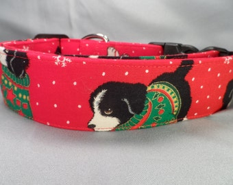 Wide Dog Collar, 1.5 inch wide Christmas Dog Collar, Christmas Puppies on Red