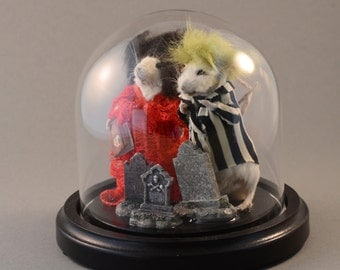 Beetlejuice and Lydia Taxidermy Mice in Bell Jar Dome