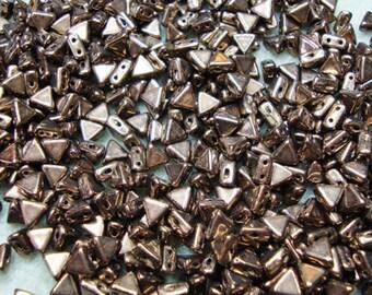 2-hole triangular bronze Czech glass beads