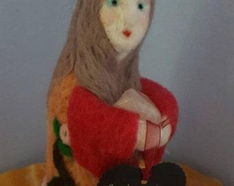 Crystal keeper needle felted  spirit  doll