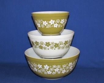 PYREX CRAZY DAISY Mixing Bowls P403, 402, 401 Spring Blossom 1960s