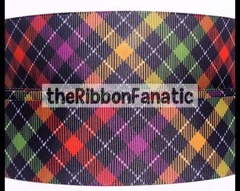 "5 yds 1.5"" Halloween Black Orange Purple Green Yellow Check Plaid Grosgrain Ribbon"