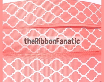 "5 yds 7/8"" Coral and White Quatrefoil Modern Morroccan Tile Lattice Grosgrain Ribbon"