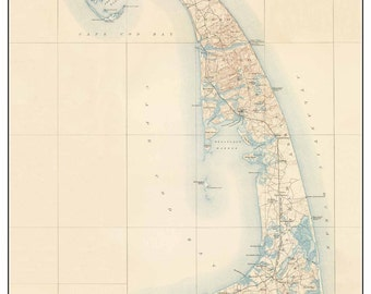 Cape Cod Regions OUTER CAPE 1890 Old topo Map  Massachusetts USGS Custom reprint - Dennis to Provincetown