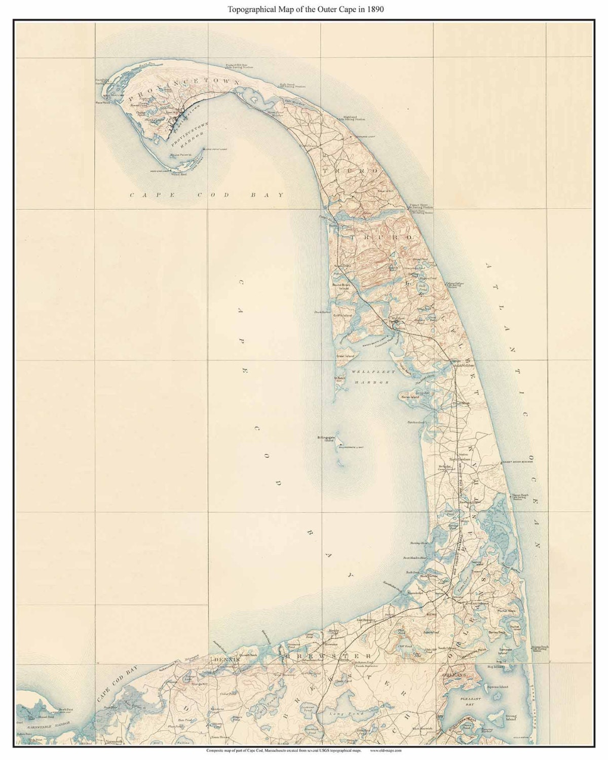 Eastham Cape Cod Map: Cape Cod Regions OUTER CAPE 1890 Old Topo Map Massachusetts