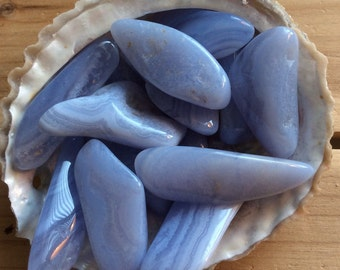 Blue Lace Agate, Calming,  peace of mind, Medium Tumbled Stone, Healing Stone, Healing Crystal, Chakra Stone, Spiritual Stone