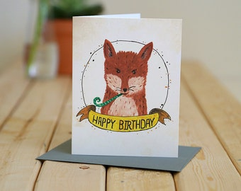 Happy Birthday - greeting card - fox celebrates / BIR-FOX