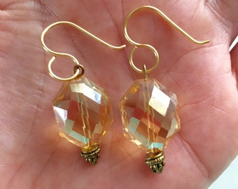 Pale yellow crystals on hand made gold tone artisan earwires