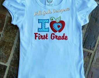 Girl's ruffled 1st grade shirt