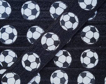 5/8 BLACK with Soccer Ball Fold Over Elastic
