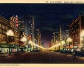 Salt Lake City East Temple Street at Night Utah Vintage Postcard (unused)