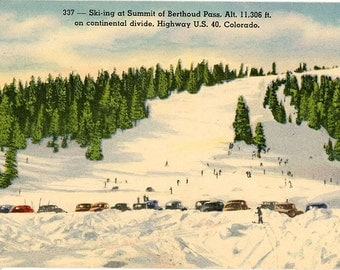 Skiing at Berthoud Pass on Continental Divide Vintage Colorado Postcard (unused)
