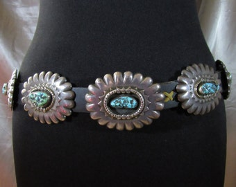 1960's/1970's Unusual Striking Navajo Old/Dead Pawn Signed Sterling Silver & Turquoise Concho Belt w/ Scalloped Conchos!!!!