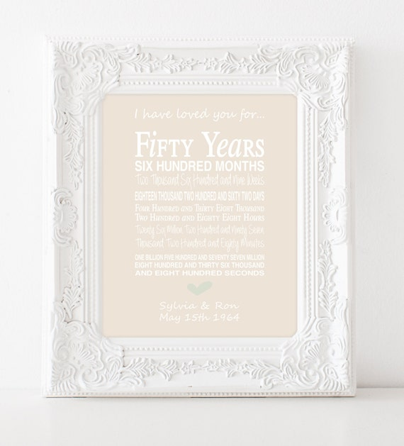50th wedding anniversary gift - personalised anniversary print ...