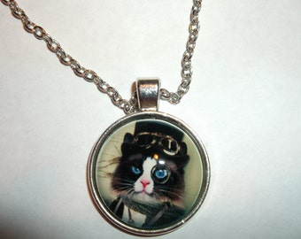 Steampunk blue eyed kitty pendant on Silver chain chain 18.5 inches, made by me sugarbearproductions