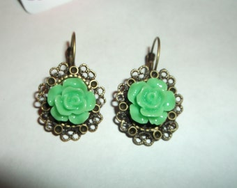 Vintage style frame earrings with Green roses in center,made by me
