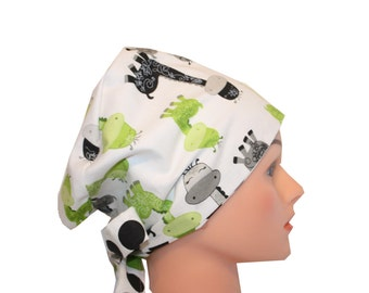 Scrub Hat Surgical Scrub Cap Chemo Chef Vet Nurse Dr Hat European Style Pixie  Lime Green Silver Gray Black Giraffes  2nd Item Ships FREE