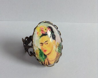 Frida Kahlo Statement Glass Ring