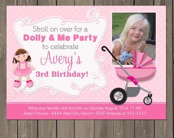 Doll Birthday Party Invitation, Doll Baby Birthday Invites, Girls Birthday Theme, Stroller, Baby Doll Birthday Party, Photo, Printed or DIY