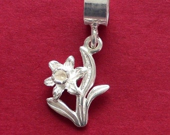DAFFODIL FLOWER 3D Solid 925 Sterling Silver Pendant and Chain